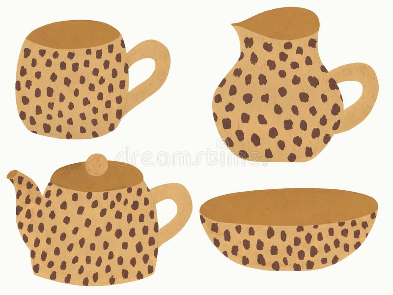 Beige dishes with leopard print stock illustration