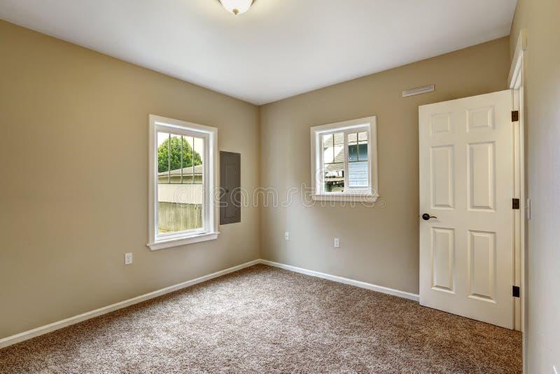 Beige empty room with brown carpet floor stock image for Bedroom with brown carpet