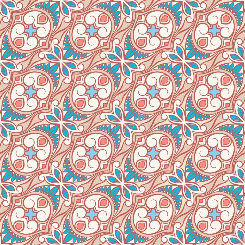 Download Beige En Blauw Bloemenpatroon Met Wervelingen Vector Illustratie - Illustratie bestaande uit samenvatting, krul: 39102785