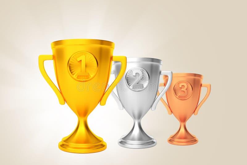 Beige en bronze argenté de récompense de gagnant de tasse d'or 3d rendent illustration de vecteur