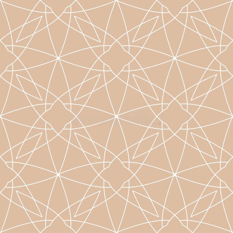 Beige en wit geometrisch ornament Naadloos patroon royalty-vrije illustratie