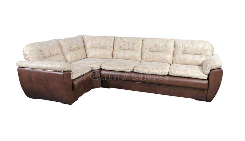 Beige and leather sofa isolated on white with clipping path stock images