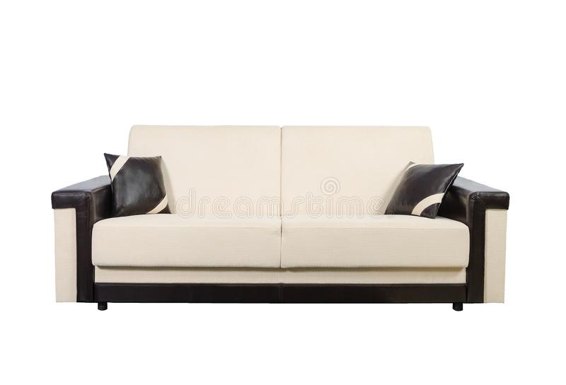 Beige and brown sofa isolated on white with clipping path royalty free stock image