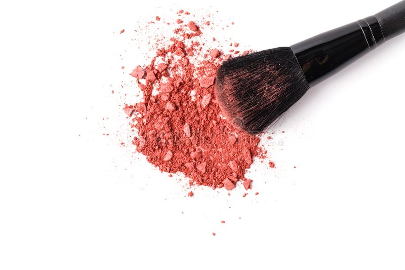 Beige face powder and brush for make up isolated on white background stock photography