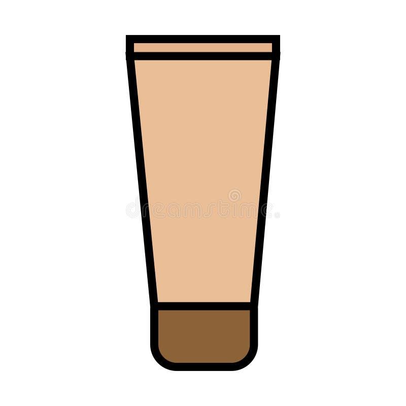 Beige flache Abdeckstiftikone ist ein einfaches bezauberndes kosmetisches Rohr mit Handcreme für die Beine des Gesichtes und des  lizenzfreie abbildung