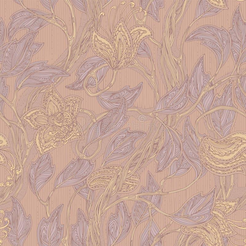 Beige floreale d'annata senza cuciture e modello lilla illustrazione vettoriale