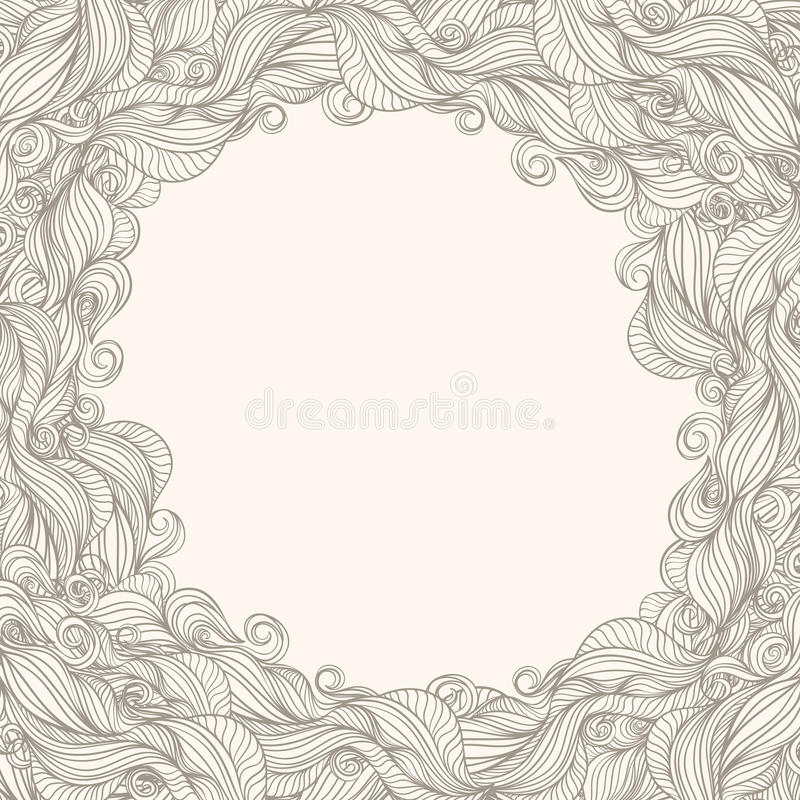 Beige frame with waves vector illustration