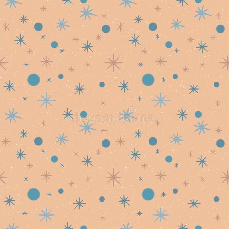 Beige gespikkeld patroon met blauwe sterren en cirkels royalty-vrije illustratie