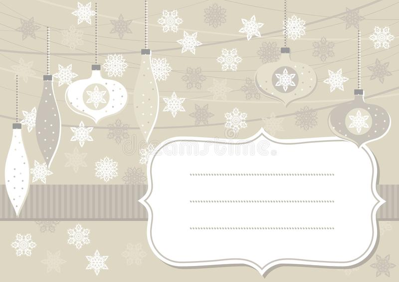 Beige glass balls and lace snowflakes horizontal card with frame vector illustration