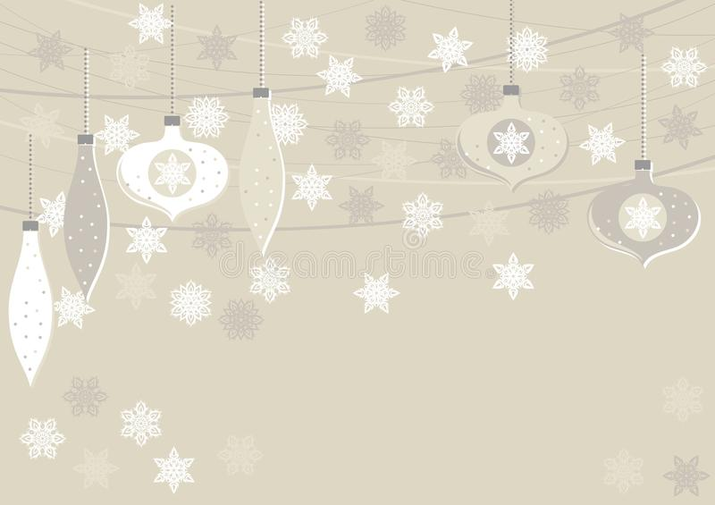 Beige glass balls and lace snowflakes horizontal illustration royalty free illustration