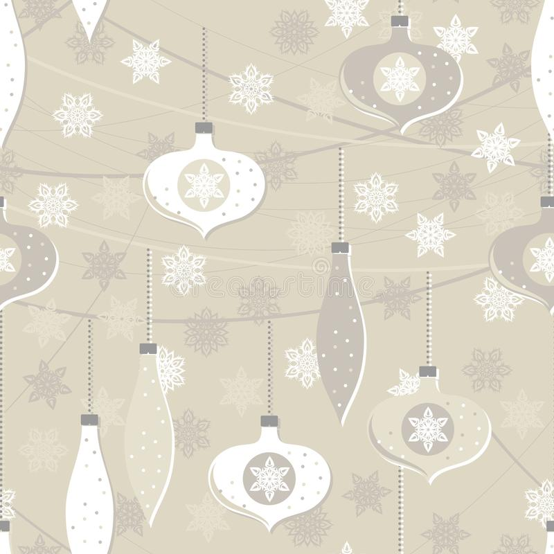 Beige glass balls and lace snowflakes seamless pattern royalty free illustration