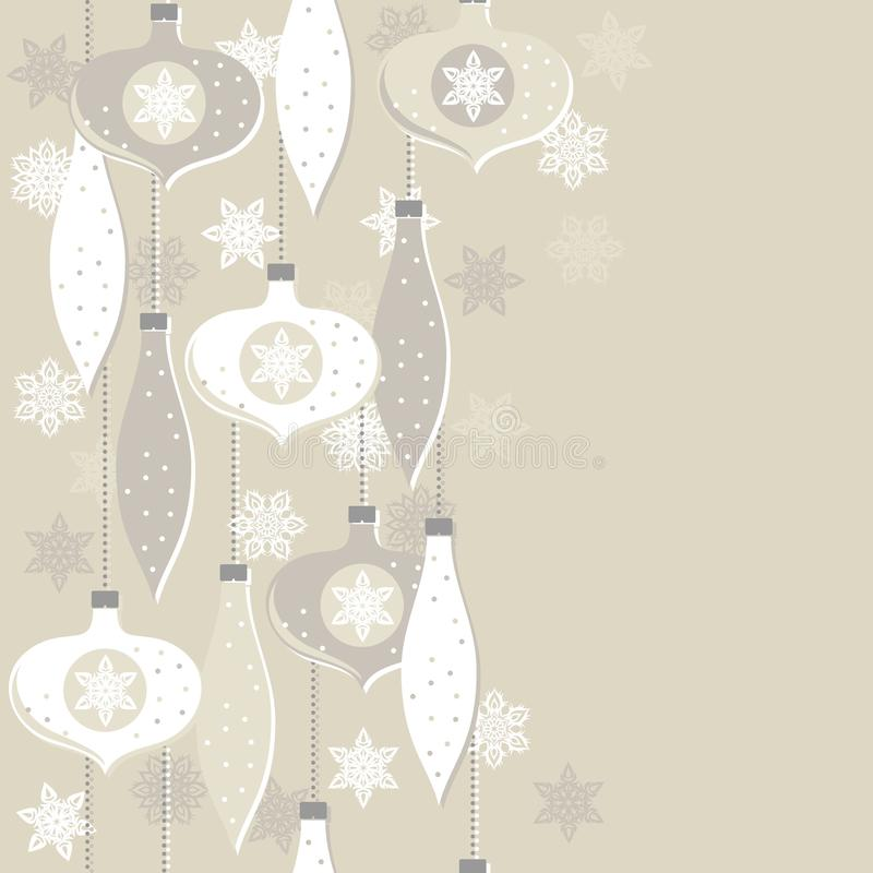 Beige glass balls and lace snowflakes seamless vertical border stock illustration