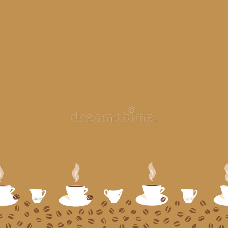 Beige gräns med kaffekoppen royaltyfri illustrationer