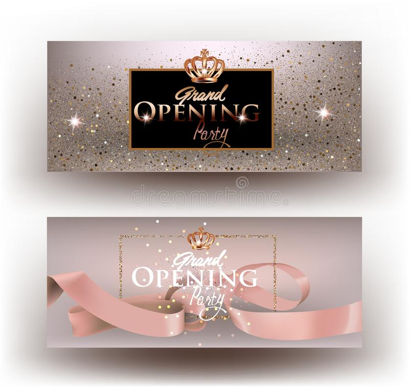 Beige grand opening party invitation cards with sparkling dust, frame and ribbon. Vector illustration royalty free illustration