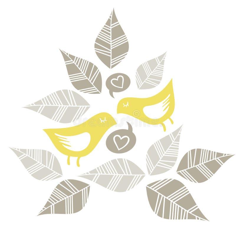 Yellow birds singing of love stock illustration