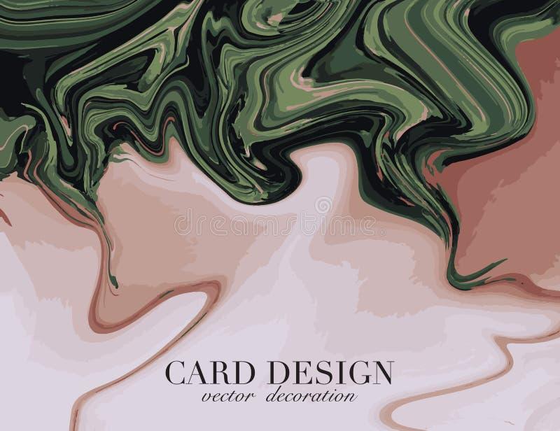 Beige green liquid flow. Abstract pastel fluid splash. Creative texture. Trendy 3d shape color. Dynamic color background. Trendy. Flyer royalty free illustration
