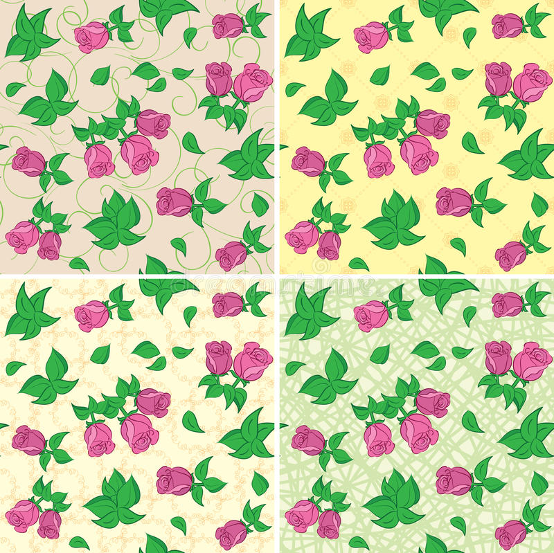 Beige and green seamless patterns with red roses - vector back stock illustration