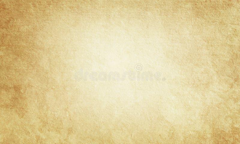 Beige grungebakgrund, gammal pappers- textur, mellanrum, buse, fläckar, strimmor, papper, strimmor, tappning, retro som är antik, stock illustrationer