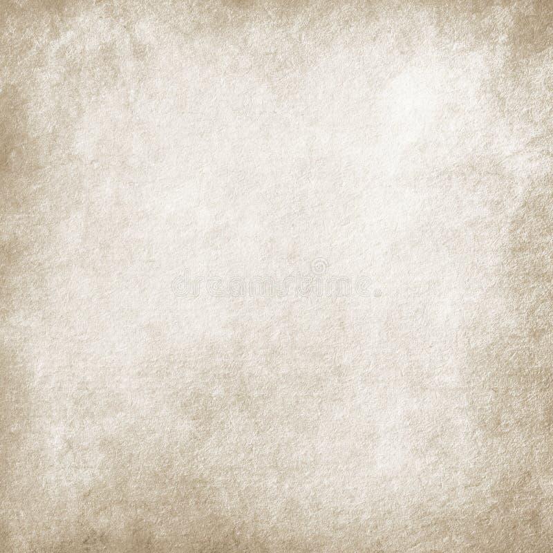 Beige grungebakgrund, papperstextur som är gammal, fläckar, strimmor som är grungy, mellanrum som är brunt, tappning som är retro stock illustrationer