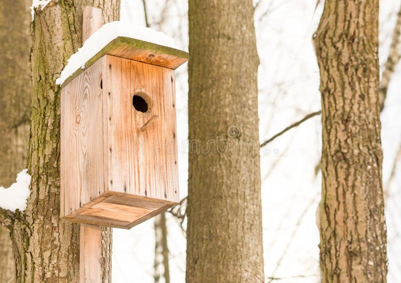 Beige hölzernes kleines Haus für Star ein Vogelhaus auf Hintergrund von zwei Bäumen und von Himmel lizenzfreies stockbild