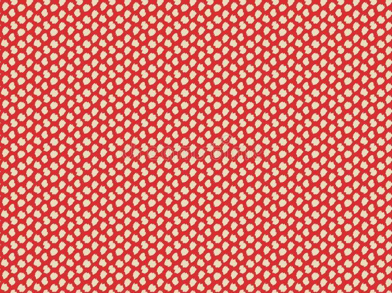 Beige Handgezogene Punkte auf nahtlosem Muster des roten Hintergrundes lizenzfreie abbildung