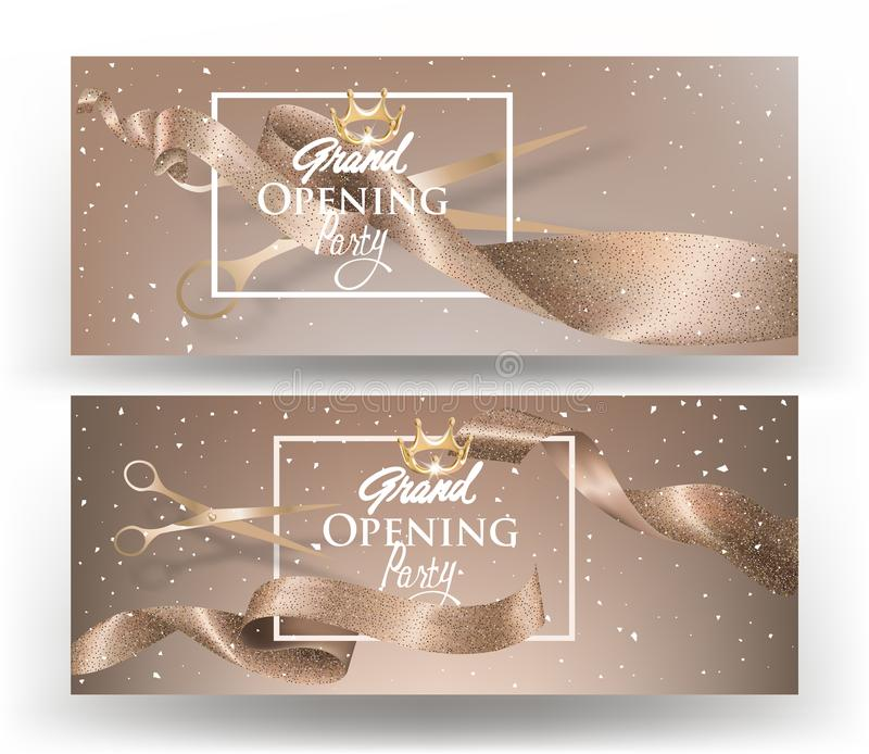 Beige horizontal grand opening invitation cards with long ribbons, falling confetti and scissors. stock illustration