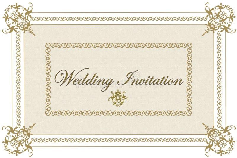 beige inbjudanbröllop royaltyfri illustrationer