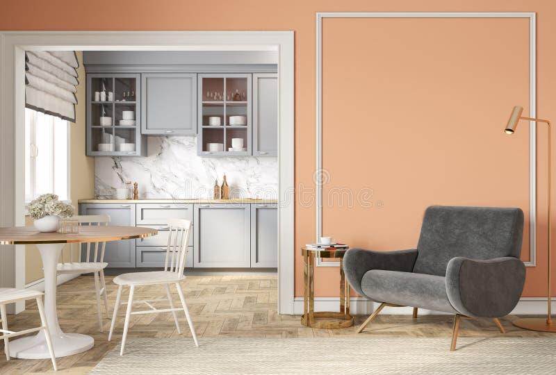 Beige Innenraum des modernen klassischen Pfirsiches mit Klubsessel, Lehnsessel, Küche, Speisetisch lizenzfreie abbildung