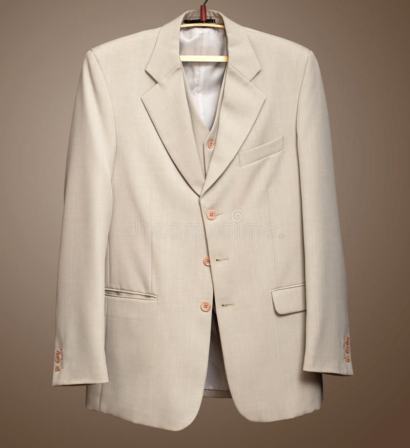 Download Beige Jacket On Hanger With Clipping Path Stock Photo - Image: 28896012