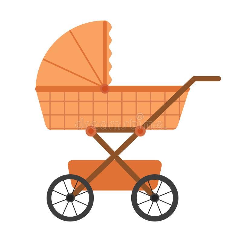 Beige kinderwagen op geïsoleerde witte achtergrond in vlak ontwerp Vector illustratie stock illustratie