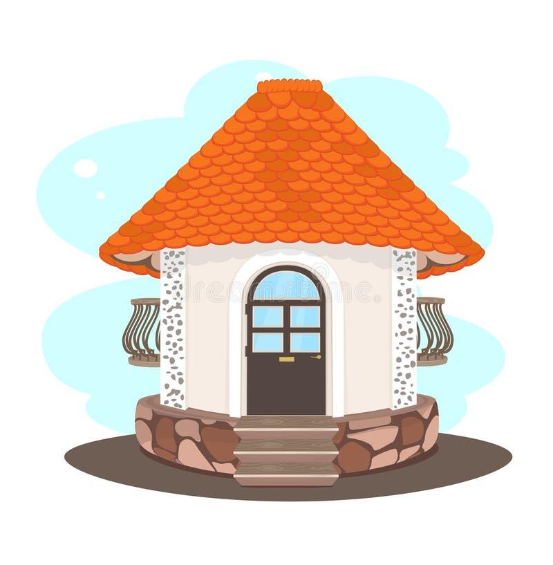 Beige kleines Haus mit einem orange mit Ziegeln gedeckten Dach lizenzfreie abbildung