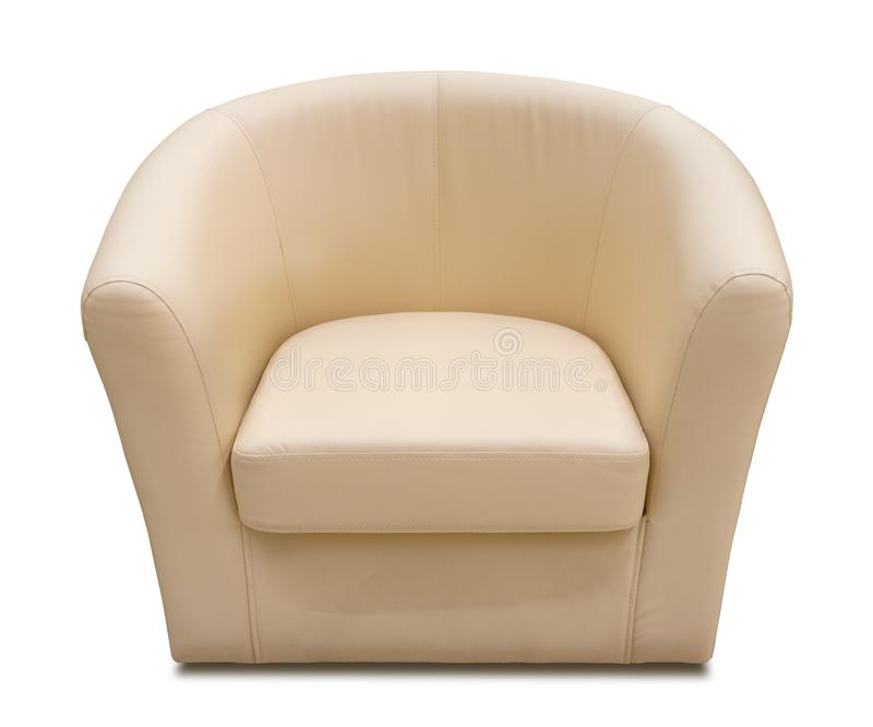 Beige leather armchair isolated on white royalty free stock photos