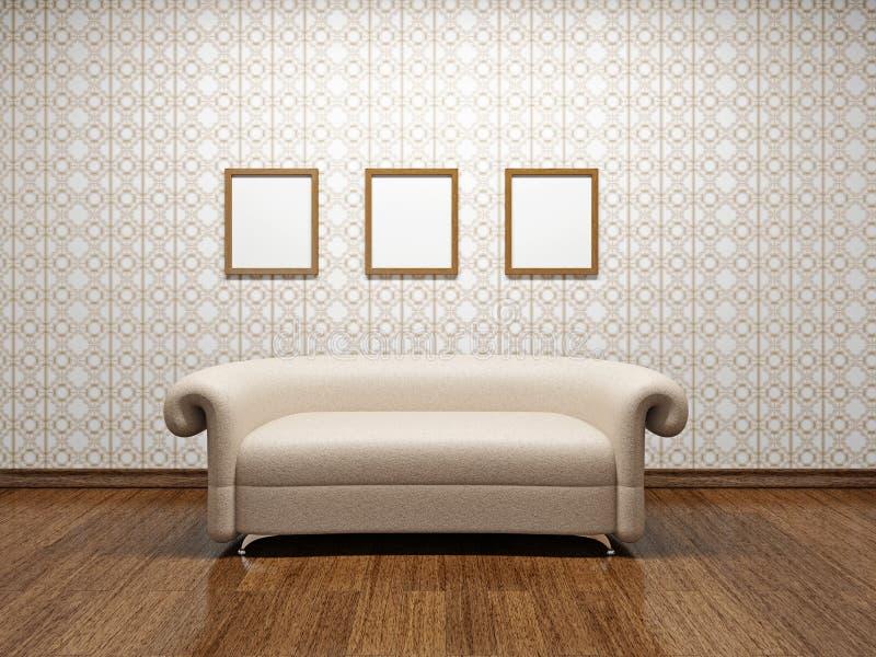 Beige leather sofa vector illustration