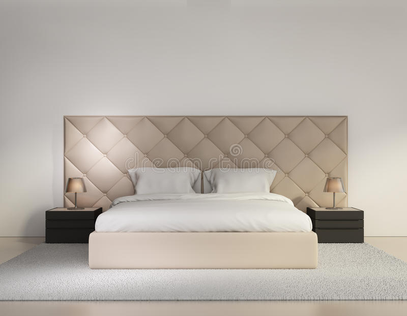 Beige lyx knäppas sovrum med filten arkivbild