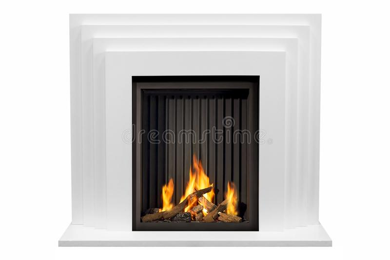 Beige marble fireplace with white background isolated.  stock photography