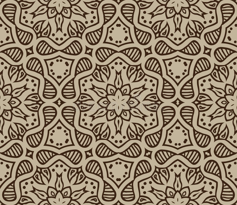Beige Marokkaans ornament in vector stock illustratie