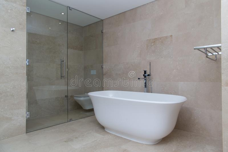beige modern luxury bathroom royalty free stock photos