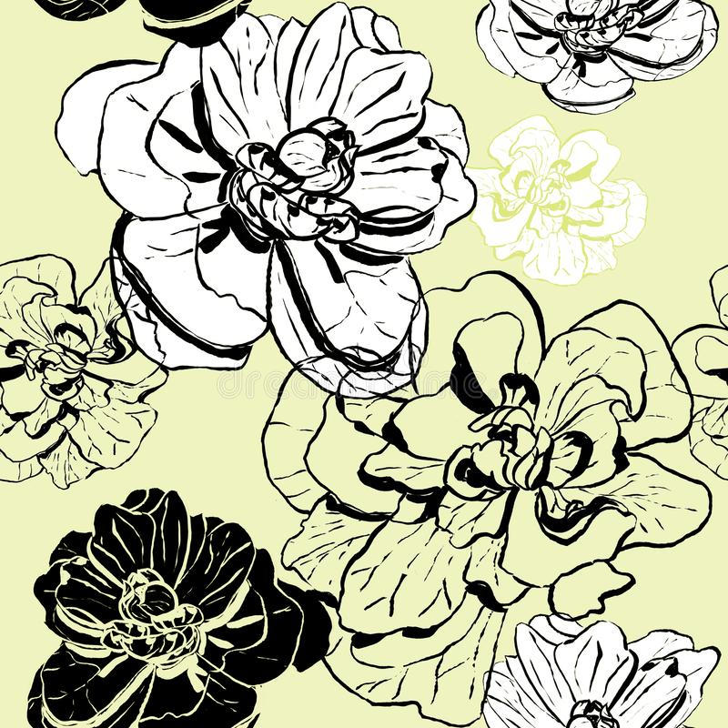 Beige Muster von verschiedenen Tintenblumen vektor abbildung