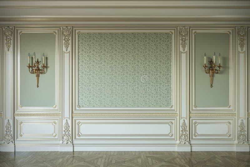 Beige muurpanelen in klassieke stijl met het vergulden het 3d teruggeven stock illustratie