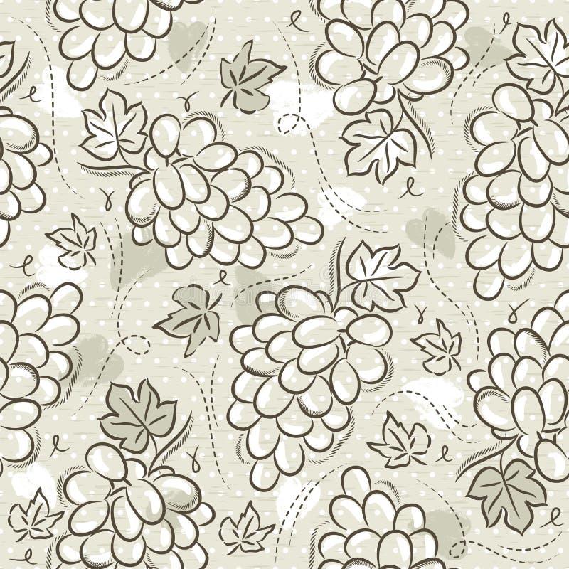 Beige Naadloze Patronen met druiven op grungeachtergrond Ideaal voor druk op stof en document of schroot het boeken, vector vector illustratie