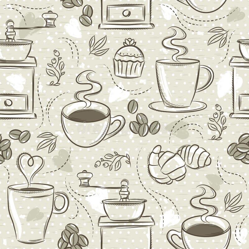Beige naadloze patronen met koffiereeks, kop, hart, koffiemolen en tekst Achtergrond met koffiereeks Ideaal voor druk op fab vector illustratie