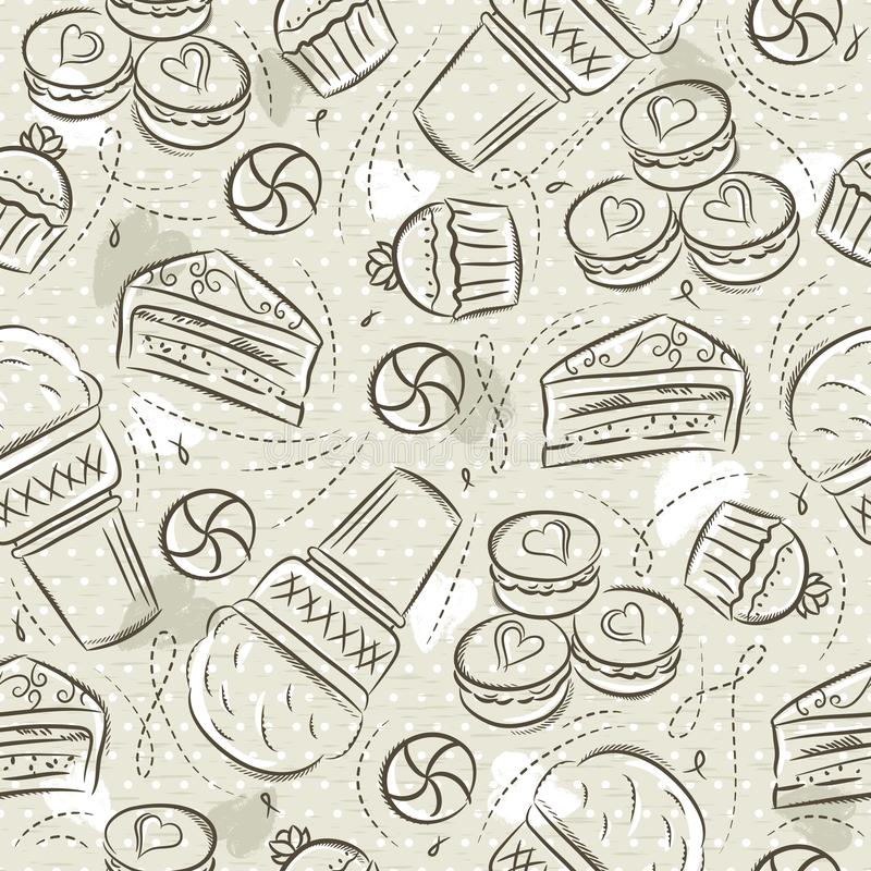 Beige nahtlose Muster mit kleinem Kuchen, Eiscreme, Muffins, Hörnchen, Kuchen und Plätzchen auf Schmutzhintergrund Ideal f?r den  vektor abbildung