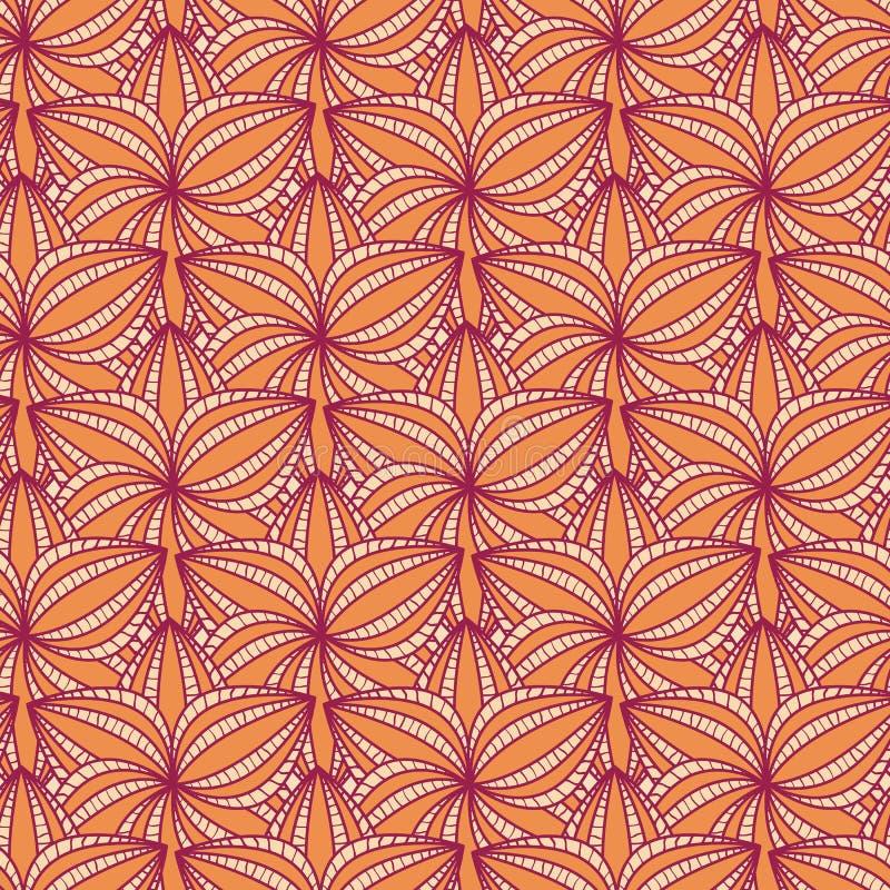 Beige nahtloses mit Blumenmuster mit Blume in der Reihe stock abbildung