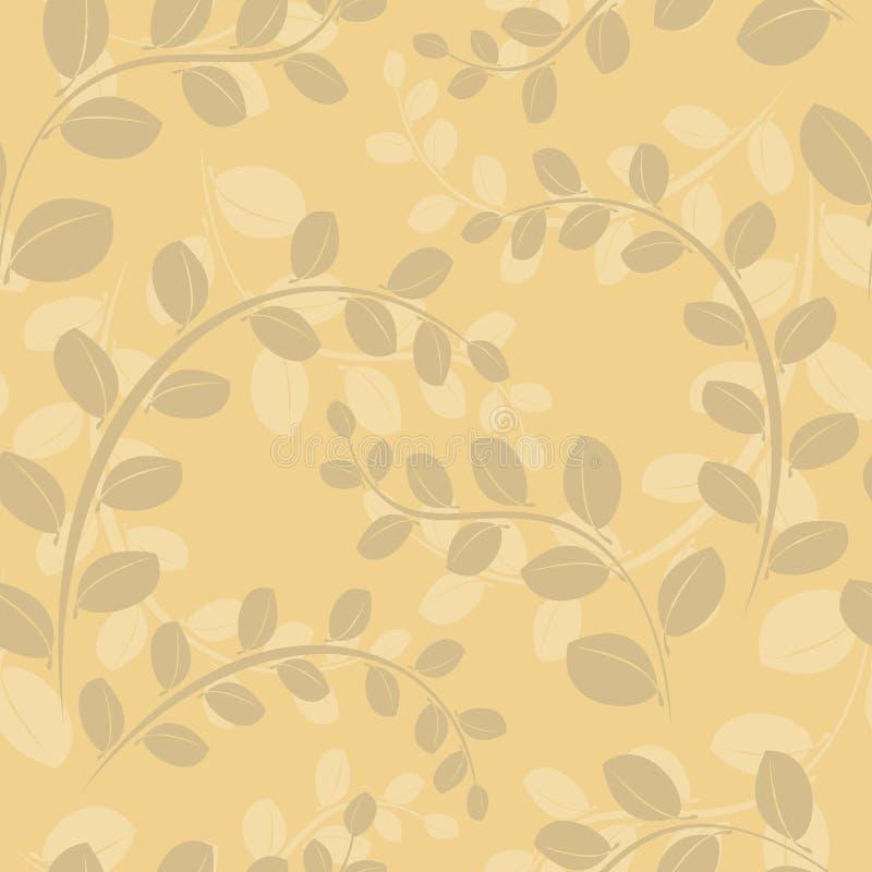 Beige nahtloses mit Blumenmuster mit Zweigen vektor abbildung