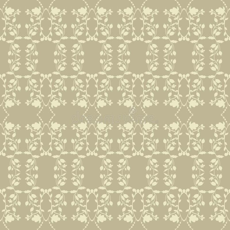 Neutral Beige Plant Wallpaper Stock Vector Illustration