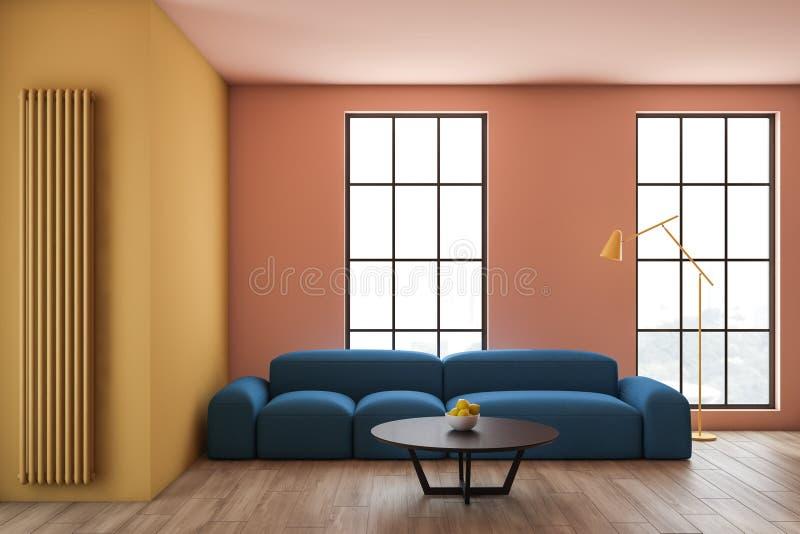 Beige och gul vardagsrum med soffan royaltyfri illustrationer