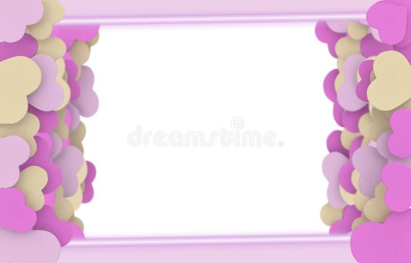 Beige och rosa tvålhjärtaram vektor illustrationer