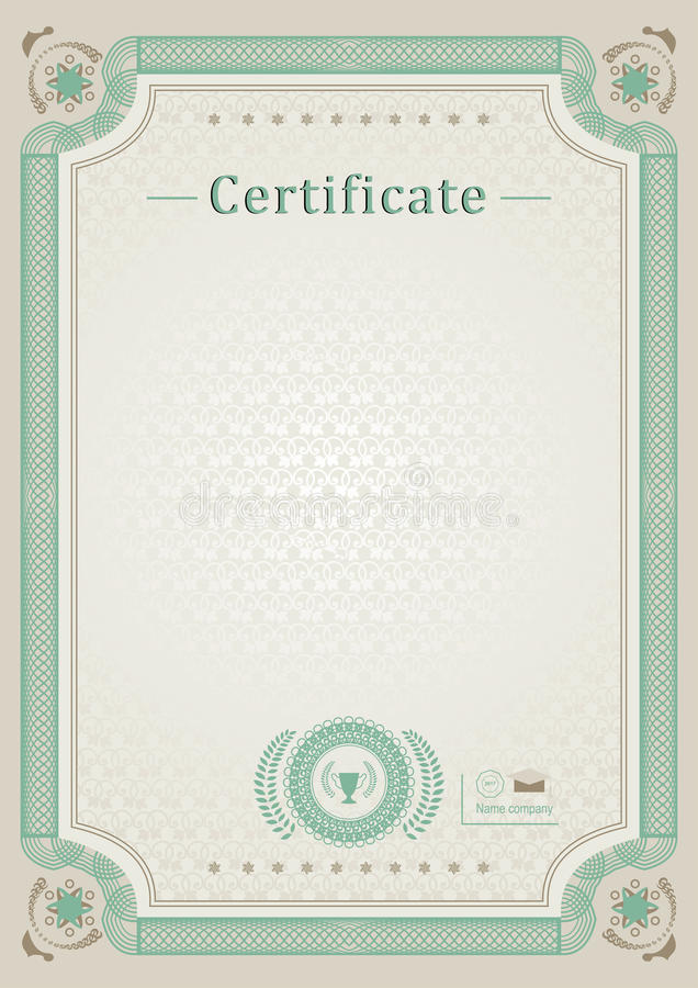 Beige official certificate. Green guilloche border stock photo