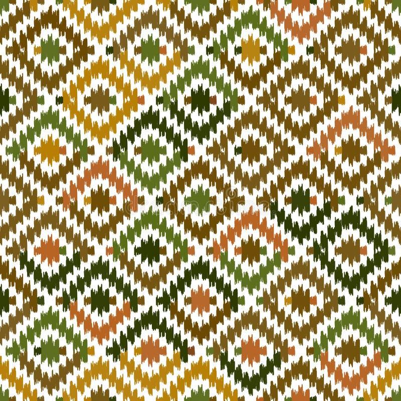 Beige orange kaki- brunt för sömlös matta för modell turkisk Filt för kilim för patchworkmosaik orientalisk med traditionellt fol royaltyfri illustrationer
