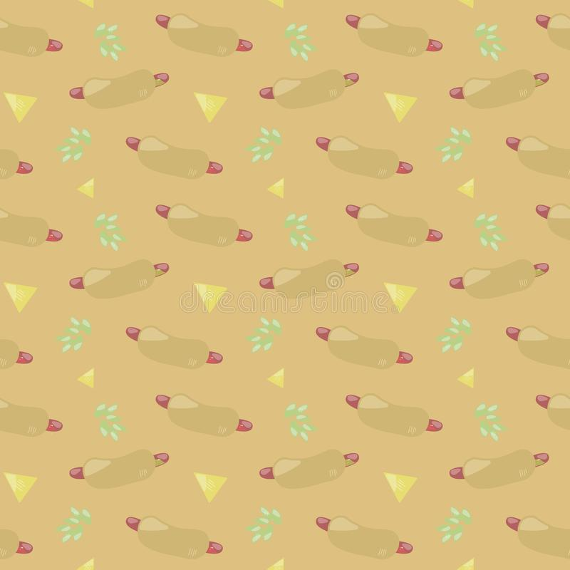 Beige orange seamless pattern texture with hot dog green leaves nachos delicious gift food sausage snack food vector background vector illustration